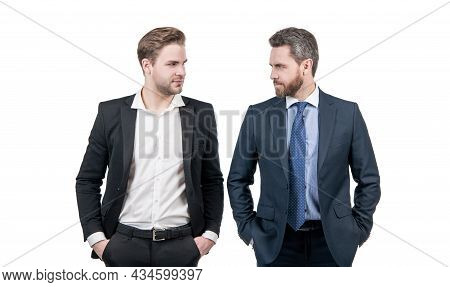 Businessmen In Businesslike Suit Competing For Leadership Isolated On White, Leadership