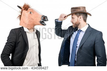 So Cool. Weird Businessmen Wear Horse Head And Cowboy Hat. Corporate Halloween. Corporate Party