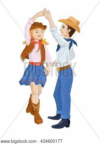 Kids Dancing Country Dance. American Children, Dancing Couple. Vector Illustration