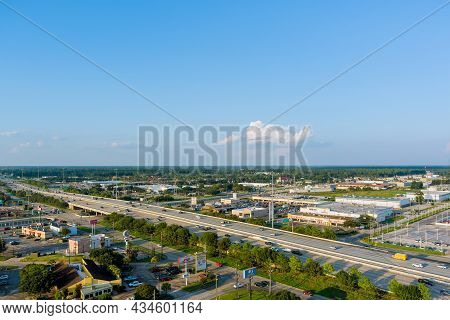20 September 2021 Houston, Tx Usa: Aerial View Shopping District Parking Lot Near Major Road 45 Inte