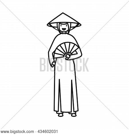 Isolated Object Of Vietnamese And Woman Symbol. Set Of Vietnamese And Girl Stock Symbol For Web.