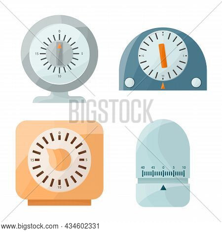 Vector Illustration Of Kitchen And Clock Icon. Set Of Kitchen And Device Stock Symbol For Web.