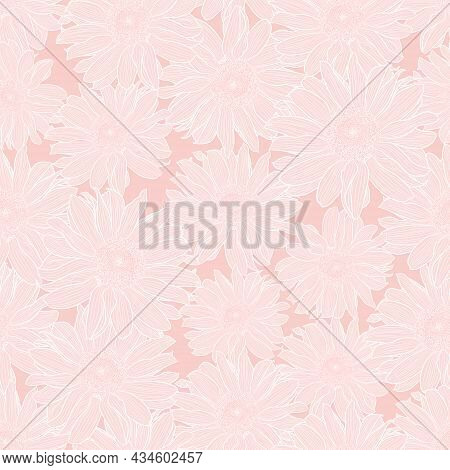 Vector Floral Seamless Pattern Of Chamomile Flowers In Light Pink Pastel Colors With White Outline.