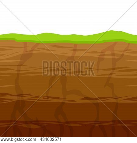 Land In The Section. Underground Background. Archaeological Scenery. Dirt Clay And Green Grass. Vect
