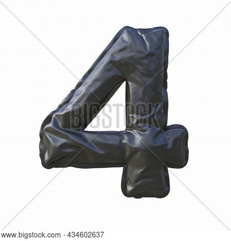 Black Leather Font Number 4 Four 3d Render Illustration Isolated On White Background
