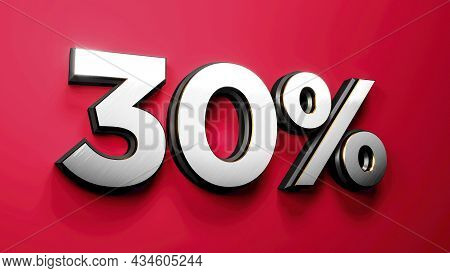 Silver Gold 30 Percent Off Sign On Red Background, Special Offer 30% Discount Tag, Sale Up To Thirty