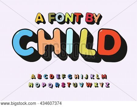 Child Alphabet Color Abc Playful Font With Contour For Comic Art Type, Kids Zone Text, Toy Logo, Chi