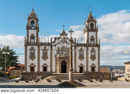 View At The Front Facade At The Church Of Mercy, Igreja Da Misericordia, Baroque Style Monument, Arc