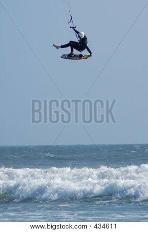 Kite Surfer Defying Gravity