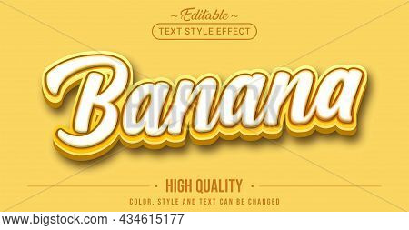 Editable Text Style Effect - Banana Text Style Theme. Graphic Design Element.