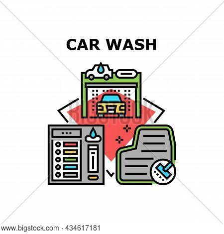 Car Wash Service Vector Icon Concept. Vacuum Carpet And Automatical Car Wash Service Equipment, Cont