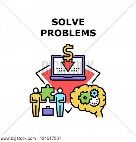 Solve Problems Vector Icon Concept. Manager And Businessman Solve Problems, Brainstorming And Thinki