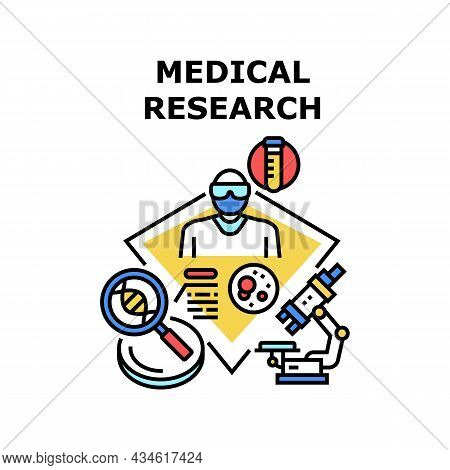 Medical Research Vector Icon Concept. Medical Research Blood With Laboratory Equipment And Microscop