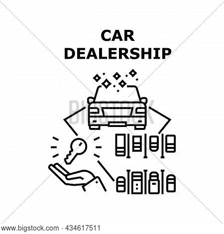 Car Dealership Vector Icon Concept. Car Dealership Business For Selling Used And New Automobile, Veh