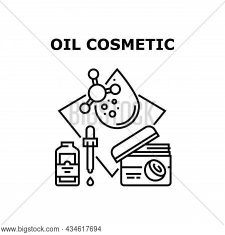 Oil Cosmetic Vector Icon Concept. Oil Cosmetic Package And Glass Bottle With Pipette. Beauty And Aro