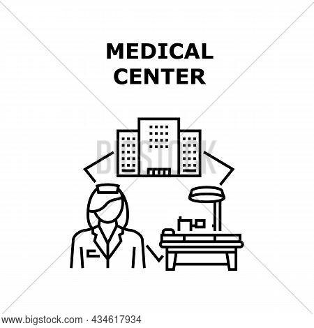 Medical Center Vector Icon Concept. Medical Center Building For Examining Patient Health, Diagnosis,