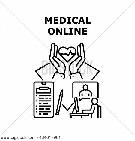 Medical Online Vector Icon Concept. Medical Online Examination And Consultation, Doctor Checking Pat