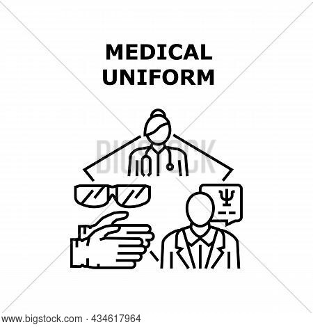Medical Uniform Vector Icon Concept. Medical Uniform And Accessories, Glasses And Sterile Gloves For