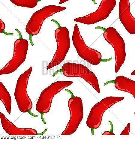 Red Pepper Vector Seamless Pattern. Mexican Chili Vegetable. Hot Paprika Texture.