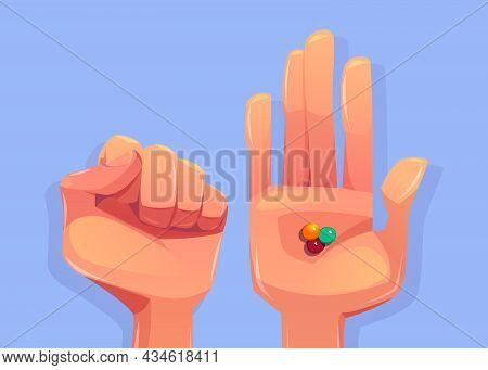Guess Which Hand Game With Closed And Open Human Palms And Colorful Candies Or Chewing Gum Top View.