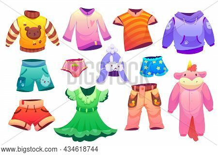 Kids Fashion Clothes For Boys And Girls. Vector Cartoon Set Of Cute Children Garment, T-shirts, Shor