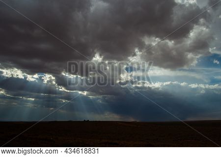 Sky Over Plains With Clouds Shuttering Sun Light Into Dramatic Sunbeams | Breathtaking Beautiful Lan