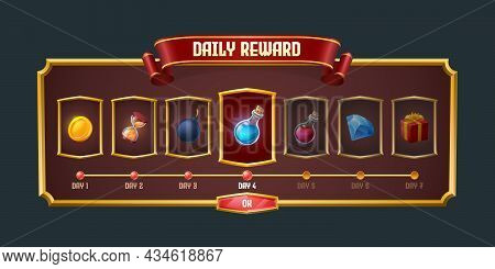 Daily Game Reward Graphic User Interface, Menu Panel For Rpg. Screen Gui Design With Level Assets In