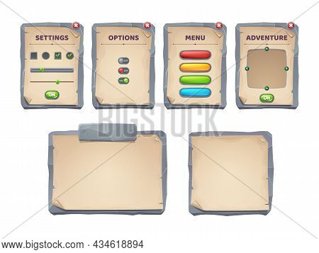 Game Ui Scrolls, Stone Boards And Antique Parchments Cartoon Menu Interface, Rocky Textured Planks,