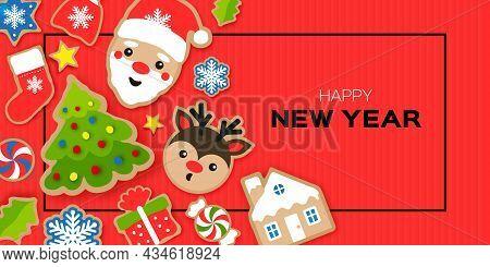 Happy New Year Greeting Card. Christmas Santa, Tree, Gift, Deer, Snowflakes, Lollipop, Holly. Christ