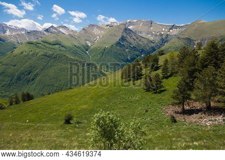 Spring View Of The National Park Of Monti Sibillini From Pintura Di Bolognola In The Marche Region,