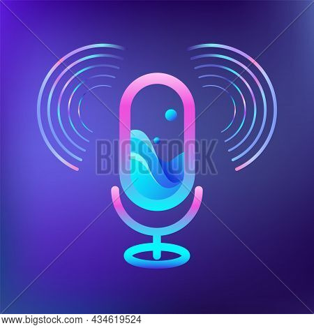 Audio Microphone For Concept Voice Recording. Sound Waves Around Icon Of Radio. Logo Design For Stud