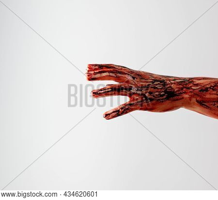 Horror Scene Of A Woman With Bloody Hands . Zombie Bloody Hands, White Background