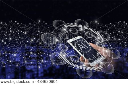 Ai, Machine Learning. Hand Hold White Smartphone With Digital Hologram Artificial Intelligence Sign