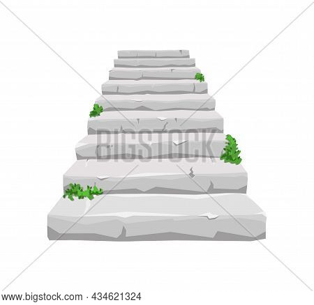 Old Stone Staircase With Sprouted Greenery On A White Isolated Background. For The House And The Old