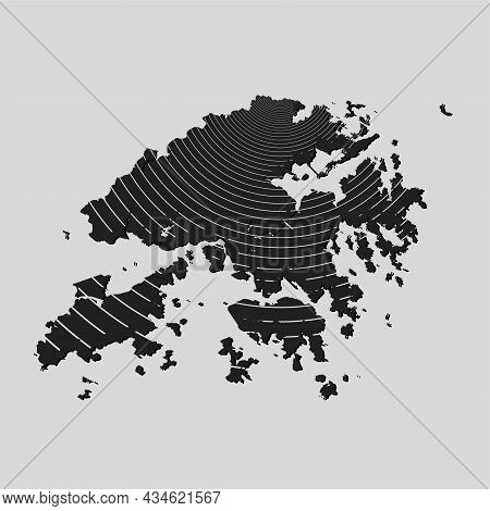 Vector Map Hong-kong, Country Template Wave Effect