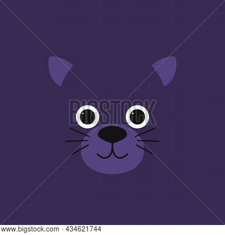 Childish Image Of A Cute Little Panther. Jungle Animal. Cartoon Character For Kids Print Design, Kid