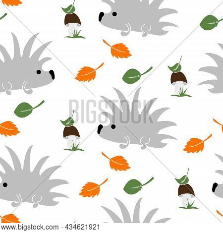 Cute Hedgehog, Mushroom And Leaves Seamless Pattern On White Background.