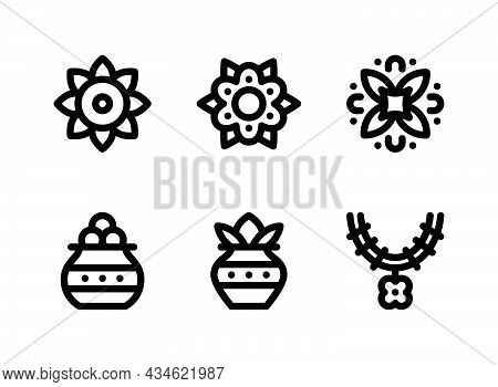 Simple Set Of Diwali Related Vector Line Icons. Contains Icons As Rangoli, Dhanteras, Garland And Mo