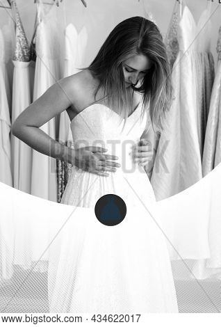 Composition of black and white caucasian woman wearing wedding dress. engagement, marriage and template concept digitally generated image.