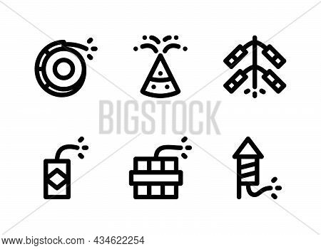 Simple Set Of Diwali Related Vector Line Icons. Contains Icons As Firecracker, Fireworks And More.
