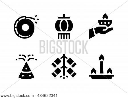 Simple Set Of Diwali Related Vector Solid Icons. Contains Icons As Firecracker, Lantern, Candle And