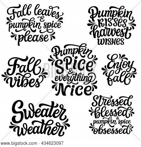 Set Of Hand Drawn Fall Quotes Isolated On White Background. Autumn Vector Typography For Posters, Mu
