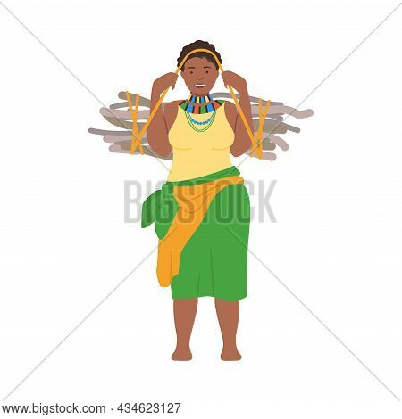 Young Plump African Woman In Traditional National Clothes Carrying Bundle Of Brushwood Cartoon Vecto