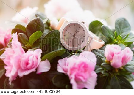 Watch Wrist Flowers. Pastel Greeting Card For Valentine's Day, Women's Day, Mother's Day. The Concep