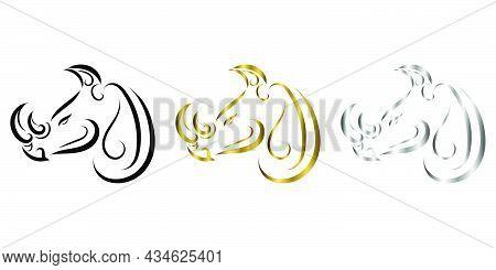Three Color Black Gold And Silver Line Art Of Rhino Head. Good Use For Symbol, Mascot, Icon, Avatar,