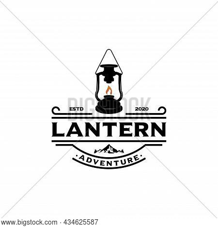 Camping Logo With Lantern Vintage Emblem Forest. Retro Style Camping Camper Explore. Outdoor Adventu