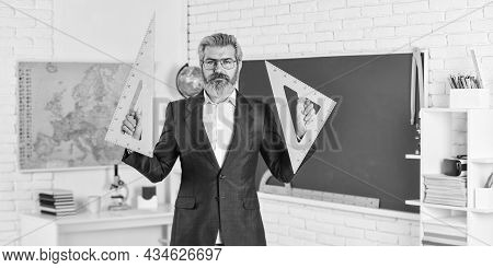 Teacher Bearded Man Chalkboard Background. Lecturer In Classroom. Final Examination Designed Test Le