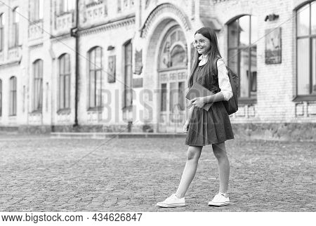 Make Back-to-school More Comfy. Happy Child Wear Formal Uniform. Wearing Uniform Jumper Dress. Fashi
