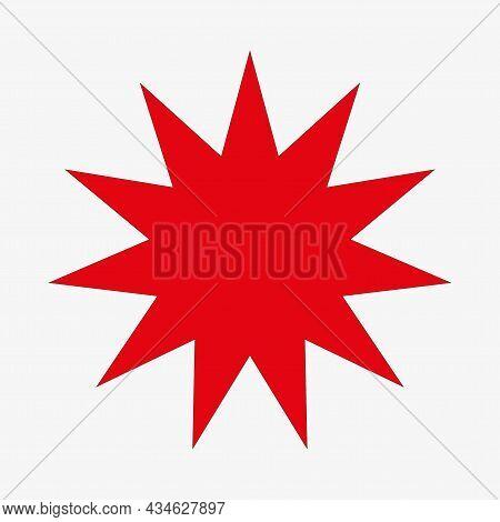 Red Starburst Icon. Bang Sign. Price Tag. Sale Emblem. Cartoon Banner. Freehand Art. Vector Illustra