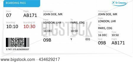 Airline Boarding Pass Ticket Isolated On White Background. Detailed Blank Of Airplane Boarding Pass